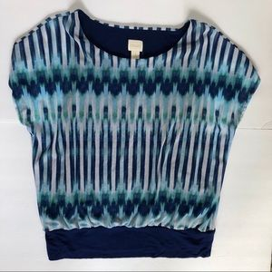 Chicos Size One Dolman Blouse Blue Patterned